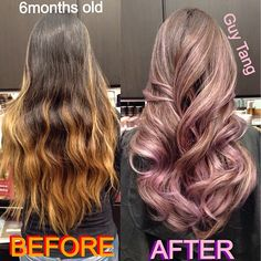 Ombre Hair - My client Veny before and after! I gave her an ombré over 6 months ago! As you can see, her color has faded to a brassy tone over the summer from probably sun,swimming, curling, washing etc! But still look good even after 6 months but she is ready for an upgrade and go lighter overall with a custom tone of soft Lavender blonde! I love it since it was over 9 hours to achieve but we had fun watching scary movies while processing @lgigglzl