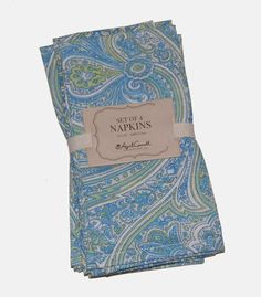 April Cornell Blue Green Paisley 100% Cotton Napkins NEW NWT #AprilCornell