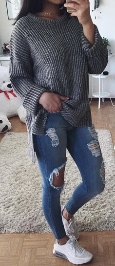 #fall #outfits women's gray sweater and blue distressed jeans
