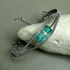 Náramek Nika sklo vinutka jemný nerezový drát wire wrapping nerezová ocel