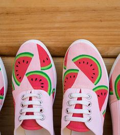Items similar to Hand-painted shoes: Watermelon Snickers on Etsy Disney Painted Shoes, Painted Canvas Shoes, Custom Painted Shoes, Hand Painted Shoes, Custom Shoes, Watermelon Shoes, Watermelon Art, Watermelon Carving, Doodle Shoes