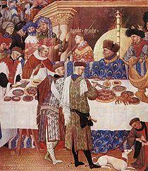 John, Duke of Berry enjoying a grand meal -Les très riches heures du Duc de Berry: January (detail)