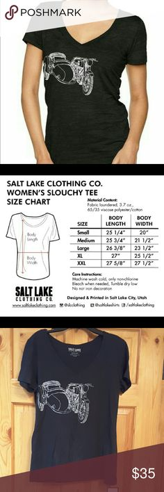 """BySalt Lake   Ladies """"sidecar"""" black V-neck BF tee Ladies """"Sidecar""""  V-neck Boyfriend Tee    Material content: 50% Polyester, 50% Cotton   Made in Indonesia, Designed and Printed in Utah by Salt Lake Clothing  Thank you. Salt Lake Clothing Tops Tees - Short Sleeve"""