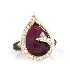 Ring Swirl White Sapphires Around Ruby