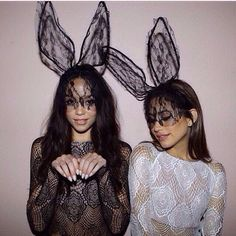Popping up in fashion spreads around the globe are these super sexy lace bunny ears with a black veil! This headband has flexible wire bunny ears to pose! As seen on Khloe Kardashian and Ariana Grande!