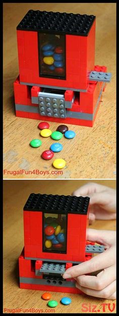 For your lego loving kids here is great thing to built Make a candy dispenser … hmm . yum Tutorial here: Lego Candy Dispenser Projects For Kids, Diy For Kids, Craft Projects, Craft Ideas, Diy Ideas, Creative Ideas For Kids, Project Ideas, Decor Ideas, Easy Diy Crafts