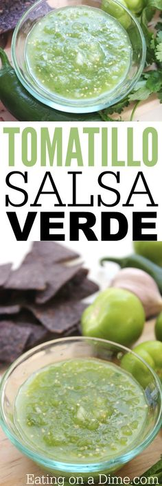 Try this easy salsa verde de tomatillo recipe. This simple salsa verde recipe is amazing. We eat it with chips or serve it with our tacos. Tomatillo Recipes, Tomatillo Salsa Verde, Salsa Verde Recipe, Mexican Dishes, Mexican Food Recipes, Tacos, Latin Food, Food Dishes, Side Dishes