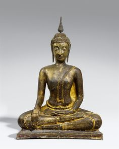 A very large Sukhothai bronze figure of Buddha in maravijaya.14th/15th century  A very large Sukhothai bronze figure of Buddha in maravijaya, seated in paryakasana on a low base, the right hand in bhumisparsha mudra, the left in dhyana mudra above the foot, the elegant head with a narrow face, large eyes, a full mouth and large ears, the head and ushnisha covered by tiny conical haircurls. The ketumala is a modern replacement. The surface of the bronze somewhat damaged with repairs and ...
