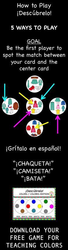 FREE Spanish vocabulary game - Desc�brelo (like Spot-it)