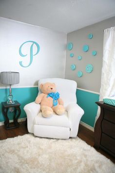 Our Boy Nursery Revealed!  Beautiful Color Scheme of Turquoise, mint, lime, and silver.  Lots of DIY touches too!