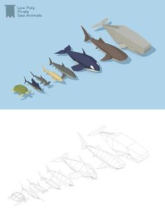 Low Poly Pirate Sea Animals. 3D Animals