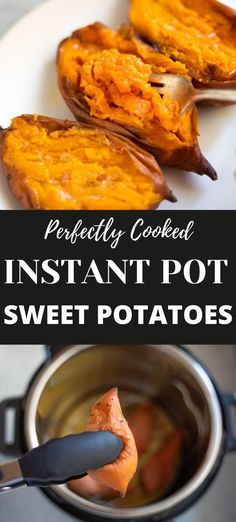 This easy Instant Pot Sweet Potatoes recipe shows you how to make perfect tender creamy sweet potatoes in less than an hour   Pressure Cooker Sweet potatoes   sweet potato paleo   potato dinner side   #sweetpotatoes #instantpotsidedish   pipingpotcurry.com Instant Pot Dinner Recipes, Vegetarian Recipes Dinner, Side Dish Recipes, Side Dishes, Lentil Recipes, Curry Recipes, Potato Recipes, Pressure Cooker Sweet Potatoes, Cooking Sweet Potatoes