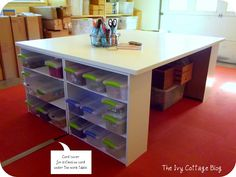 work table made out of doors and short bookshelves.  Could we do something like this for a dining room table???