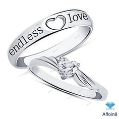 14K White Gold Heart Shape Endless Love Beautiful Couple Wedding Ring 925 Silver #Affoin8 #CoupleWeddingRing