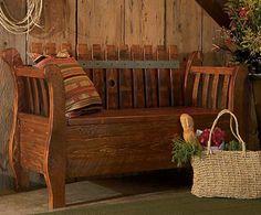 Barrel stave storage bench.