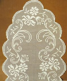 Diy Crafts - Very nice piece to make your place perfect. - x 51 inches)and made from white cotton. This item is pre-order on Crochet Doily Patterns, Crochet Doilies, Crochet Flowers, Crochet Stitches, Crocheting Patterns, Diy Crafts Crochet, Crochet Gifts, Crochet Projects, Crochet Table Runner