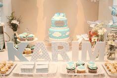 Baby blue Sweet table /mesa dulce azul y blanco
