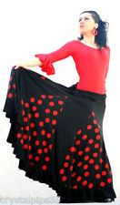 Ladies Spanish Flamenco Dance Skirt Black & Red or Black & White 24 - 36 Waist