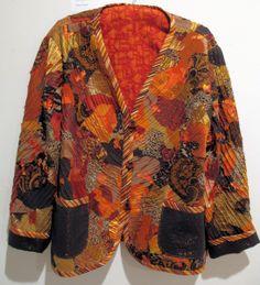 Autumn Collage Jacket - 1995 - raw edge applique, pin tucks - Sold