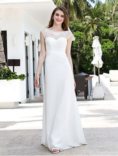 A-line Scoop Sweep/Brush Train Chiffon And Tulle Wedding Dress Easebuy! Free Measurement!