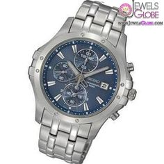 Men's Seiko Le Grand Silver-Tone Stainless Steel Watch with Round Blue Dial mens watches on sale under $500