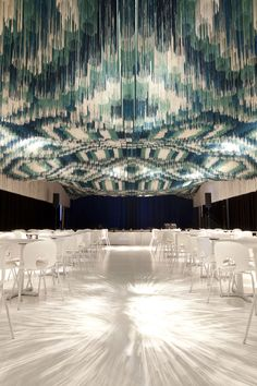"Holy Lighting!! ""The Monsoon Club at The Kennedy Center, by Serie Architects. A thread patterned ceiling in blues and white."""
