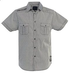 Gioberti Mens Casual Western Short Sleeve Striped Gray Shirts,100 percent Cotton, XX Large  Go to the website to read more description.