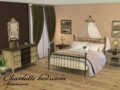 The Sims Resource: Charlotte bedroom by Spacesims • Sims 4 Downloads