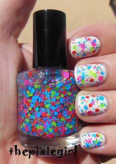 Bright Neon Glitter Indie Nail Polish Top Coat by thepixiegirl, $8.50