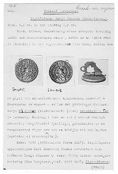 Silver Seal of Bengt Jönsson with Oxenstiernas heraldry. C. 1400 (1400's first quarter?) Inventory Number: 202 - Statens Historiska Museet SHM 2003-03-01