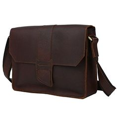 Mans Brown Leather Business Casual Flap over Briefcase Cross body Messenger Shoulder Bag >>> Find out more about the great product at the image link.
