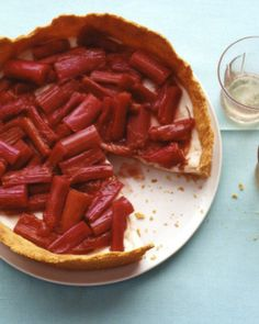 Rhubarb Tart with Lemon-Yogurt Mousse Recipe
