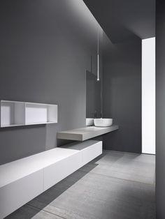 Maison Valentina is a luxury brand specialized in high-end bathroom furniture. Grey Bathrooms, Modern Bathroom, Small Bathroom, Interior Minimalista, Bathtub Remodel, Minimalist Bathroom, Bathroom Interior Design, Bathroom Designs, Bathroom Ideas