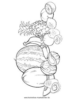 Funny Fruit Coloring Pages, Pages Fruit Coloring Pages, Colouring Pages, Coloring Sheets, Adult Coloring, Drawing For Kids, Line Drawing, Funny Fruit, Painting Templates, Fruit Art