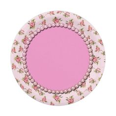 Victorian Pink Roses Fancy Paper Plate