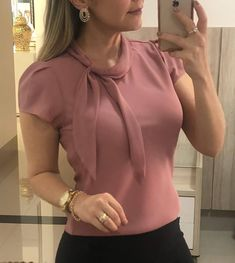 Puff Sleeve Tied Neck Casual Blouse We Miss Moda is a leading Women's Clothing Store. Blouse Styles, Blouse Designs, Wonder Woman Shirt, Trend Fashion, Women's Fashion, Fashion Ideas, Winter Fashion, Fashion Watches, Fashion Online