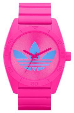 adidas Originals 'Santiago' Polyurethane Strap Watch available at Nordstrom Fitness Style, Adidas Originals, The Originals, Girls Accessories, Fashion Accessories, Adidas Watch, Pink Adidas, Pink Love, Hot Pink
