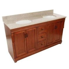 Foremost, Naples 61 in. W x 22 in. D Vanity in Warm Cinnamon with Granite Vanity Top in Beige with Double Bowls in White, NACABG6122D at The Home Depot - Mobile