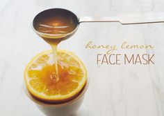 Honey Lemon Face Mask: Lighten dark spots with lemon while purifying pores with honey's natural antibacterial agent - great treat for your skin!