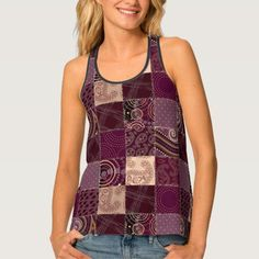 Shop Burgundy Patchwork Quilt Pattern Ladies Tank Top created by ThePlaidShop. Summer Outfits Women 20s, Cute Summer Outfits, Pretty Outfits, Casual Outfits, Fashion Outfits, Pretty Clothes, Casual Summer, Zulily Women Tops, Tank Top Outfits