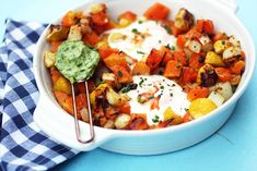 A one pan meal that's easy to make and delicious to eat. It's made with basic ingredients and comes together fast. This recipe is Vegetarian Dairy Free Nut Free Gluten Free Nut Free, Dairy Free, Gluten Free, Roasted Vegetables, Veggies, Potato Hash, Create A Recipe, One Pan Meals, Chimichurri