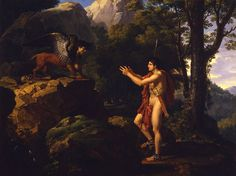 François-Xavier Fabre (French painter, Œdipe et le Sphinx (Oedipus and the Sphinx) (ca. Dahesh Museum of Art, New York City Greek Monsters, Le Sphinx, Francois Xavier, Anthony Van Dyck, Fabre, Carthage, Greek Mythology, Mythical Creatures, How To Be Outgoing