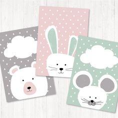 Nursery Prints, Nursery Art, Small Canvas, Canvas Art, Painting For Kids, Art For Kids, Maus Illustration, Deco Kids, Grey Bunny