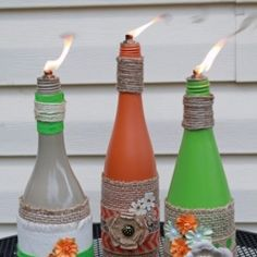 Have a favorite wine? Have a wine bottle that you decorated? Add a wick and turn it into a candle! Tutorial by Glitter, Glue and Paint