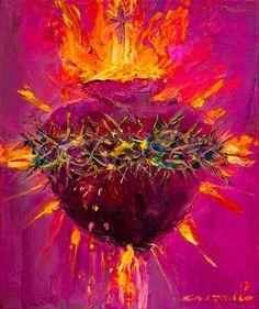 Jesus Christ Painting, Jesus Art, Catholic Art, Religious Art, Prophetic Art, Heart Painting, Chicano Art, Mexican Art, Sacred Art
