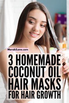 3 DIY Coconut Oil Hair Masks | Perfect for curly hair and straight hair, for dry hair that has been damaged by heat tools, for split ends, and for hair flakes caused by dandruff, these homemade hair masks offer a natural deep conditioner and scalp moisturizer for your locks, and you can create them with natural ingredients you have at home. These DIY hair treatments also help with hair growth, and you don't have to wear them overnight - they work fast! Diy Hair Treatment, Hair Treatments, Scalp Moisturizer, Cinnamon Hair, Hair Tutorials For Medium Hair, Coconut Oil Hair Mask, Essential Oils For Hair, Homemade Hair, Honey Hair