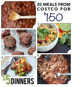 20 Meals from Costco for $150 via @$5 Dinners {Erin Chase}