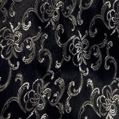 Metallic Silver and Black Floral Brocade Fabric-By-The-Yard