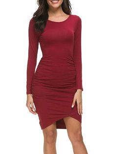 Women's Casual Long Sleeve Ruched Bodycon Sundress Irregular Sheath T Shirt Dress - Sleeveless Army Green Medium Mini Shirt Dress, Cap Dress, Plus Size Maxi Dresses, Short Sleeve Dresses, Long Sleeve, Very Short Dress, Cosplay Dress, Swing Dress, Pretty Dresses