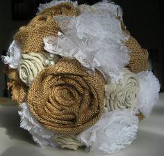 Items similar to Burlap, Linen and Lace Fabric Flower Bouquet, Wedding bouquet on Etsy Burlap Bouquet, Lace Bouquet, Fabric Bouquet, Burlap Lace, Burlap Flowers, Lace Flowers, Flower Bouquet Wedding, Fabric Flowers, Wedding Burlap